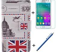 el diseño de la bandera de la PU cuero caso de cuerpo completo británico con el cine y la pluma de capacitancia para samsung galaxy a3 / a3000