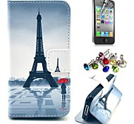 Eiffel Tower and Girl Pattern PU Leather Case with Screen Protector and Dust Plug for iPhone 4/4S
