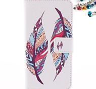 Feather Pattern PU Leather Full Body Case with Card Slot And Stand  with Dustproof Plug for Motorola G2