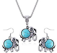 Cute Little Elephant Sapphire Diamond Necklace Earrings Set