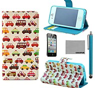 COCO FUN® Small Car Pattern PU Leather Case with Screen Protector and Stylus for iPhone 4/4S