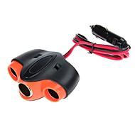 WF-075 120W 12V-24V 1A 1-to-3 Car Cigarette Lighter Socket Power Adapter (Black)