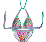 Women's Fashion Sexy Multicolor Flowers Push Up Beachwear Bikini Set Swimwear Swimsuit