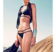 la mode féminine sexy noire creuse bikini ensemble de maillots de bain maillot de bain maillot de bain biquini