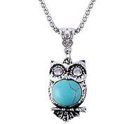 Cute Owl Sapphire Necklace