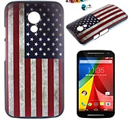 The American Flag Pattern PC Back Cover Case With Dustproof plug for Motorola G2