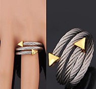 Ring Wedding / Party / Daily / Casual / Sports Jewelry Stainless Steel / Zircon / Gold Plated Women Band RingsAdjustable