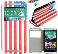 el caso del patrón de la bandera americana de cuero de la PU de cuerpo completo y el enchufe a prueba de polvo para un htc (M8)