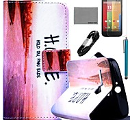 COCO FUN® Horizontal Sunset Pattern PU Leather Full Body Case with Film and USB Cable and Stylus for Motorala Moto G