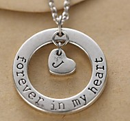 Unisex's Fashion Circle And Alphabet Heart Pendant Silver Alloy Pendant Necklace(1 Pc)