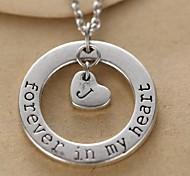 círculo de la moda y el corazón alfabeto colgante pendiente de la aleación de plata collar unisex (1 unidad)