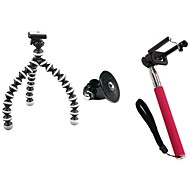 Self-timer Set (Small Tripod, GOPRO Adapter,Rose Self-pole, Mobile Phone Clip)