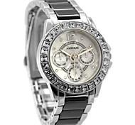 Woman Ladies Round White Dial Ceramic Black Watchband Water Resistant Quartz Watch FW830K