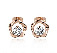 Concise Style Austrian Crystal Flower Stud Earrings Fashion Jewelry With Austrian Crystal Stellux Cubic Zirconia