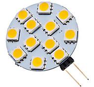 1.5W G4 Spot LED 12 SMD 5050 70 lm Blanc Chaud / Blanc Froid AC 12 V