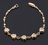 U7®Heart Love Bracelet 18K Real Gold Platinum Plated AAA+ Cubic Zirconia Chain Bracelet Fashion Jewelry for Women