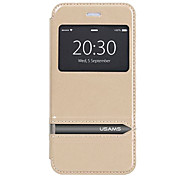 USAMS Caller ID Window Design Flip Stand Transparent PC+PU Leather Case for iPhone 6(Assorted Colors)