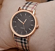 Women's Watch Simple Cowboy Checked Quartz Bronze PU Band(Assorted Colors)