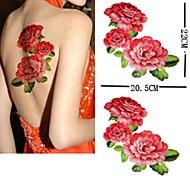 PC 1 patrón respaldo gran peonía impermeable pegatinas tatuaje