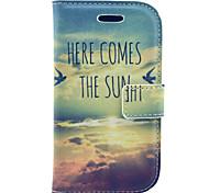 vista sol padrão capa de couro pu com protetor de tela e caneta e cabo para Samsung Galaxy S3 mini-i8190