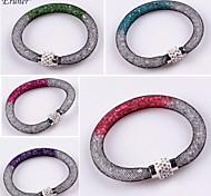 Eruner® Hot Double Color Rhinestone Crystal Beads Net Mesh Magnetic Snap Bracelet Bangle