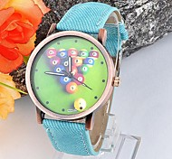 Men's and Women's Denim Cloth China Movement Watches Watches Round Table Tennis(Assorted Colors)