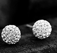 Super Flash diamond ball Shambhala earrings 12mm