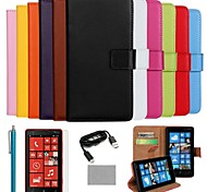 COCO FUN® Luxury Solid Color Genuine Leather Case with Film, Cable and Stylus for Nokia Lumia 820(Assorted Colors)