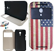The American Flag Pattern PU Leather Full Body Case And Dustproof Plug for Motorola G2