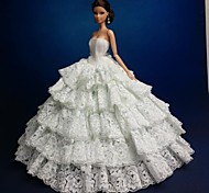 Barbie Doll Strapless Floor-length White Wedding Dress