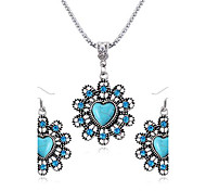 Love Sapphire Diamond Flower Necklace Earring Sets