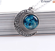 Moon Pendant Moon Necklace Moon Jewelry Galaxy Universe Stars Space Gift for