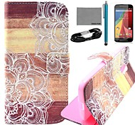 COCO FUN® Wooden Flower Pattern PU Leather Full Body Case with Film and USB Cable and Stylus for Motorala Moto G2 XT1063