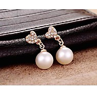 European Style Rhinestone Heart Pearl Earrings