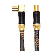 2M 6.56FT Coaxial Male to Male Elbow Signal HD TV RF Set-Top Box Coaxial Connection Cable