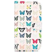colorized Schmetterling Muster Brieftasche Stil stehen Kreuz Textur-PU-Leder Tasche für HTC Desire 500