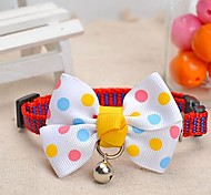 Adjustable Meshbelt Spot Pattern White Bowknot and Bell Decorated Collar for Pet Dogs