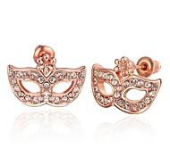 masque de cristal de la mode en or rose rose boucles d'oreille en plaqué or (or rose) (1 paire)