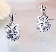 Earring Jewelry Wedding / Party / Daily Sterling Silver / Rhinestone Silver