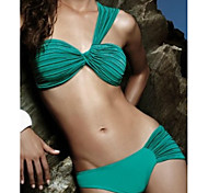Women's Fashion Sexy Green Retro Pleated Beach Bikini Set Swimwear Swimsuit