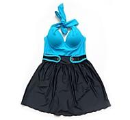 Women's Foshion Classic One Piece Dress Bra Plus Nail Decoration Swimsuit