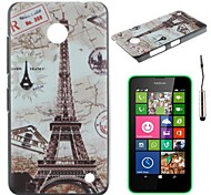 The Retro Eiffel Tower Pattern PC Hard Back Cover Case with Touch Pen for Nokia Lumia N630