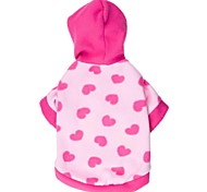 Cat / Dog Hoodie Blue / Pink Winter Hearts