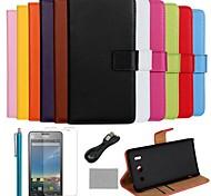 Custodia in pelle coco fun® colore solido vero lusso con la pellicola e il cavo e lo stilo per Huawei G510 (colori assortiti)