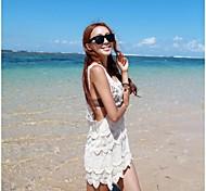 Women's Fashion Sexy White Hollow Crochet Swimwear Swimsuit Beachdress Bikini Cover-up