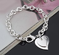 Fashion Sterling Silver Heart Dangle Women's Bracelet