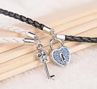 Z&X® Blue Rhinestone Lock Key Black And White PU Leather Couple Bracelets  (1 pair)