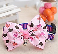 Dog Collar Adjustable/Retractable / Bow Tie / Heart Shaped / With Bell Pink Nylon