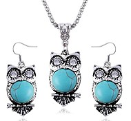 Owl Diamond Sapphire Earrings Necklace Set