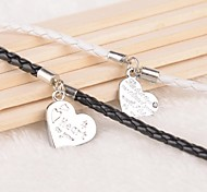 Z&X® Heart Shaped Pendant Black And White PU Leather Couple Bracelets  (1 pair)